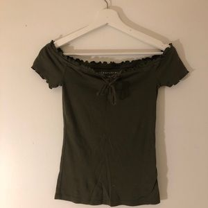 Aeropostale Army Green Off the Shoulder Ribbed Top